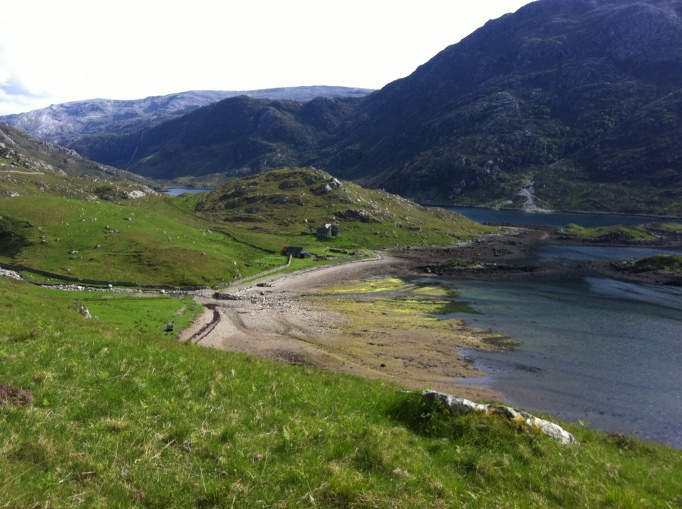 The stunning setting of Glencoul.  The bothy is the little house attached to the big house on the right.