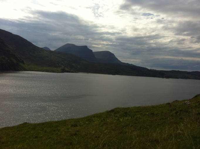 Views from Aird da Loch dominated by the lovely profile of Quinag