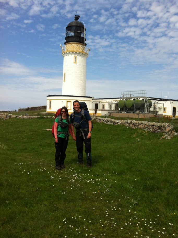 Posing outside the Cape Wrath Lighthouse