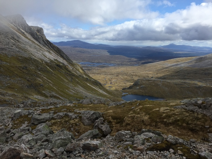 View at the bealach, the flanks of Beinn an Fhurain to the right