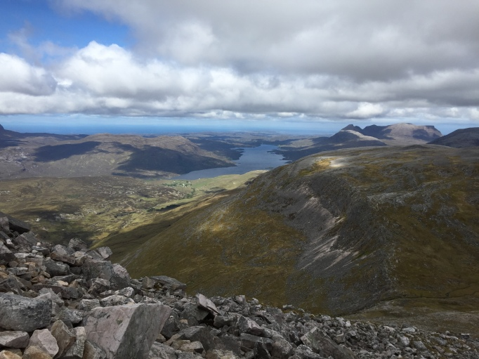Looking down into Inchnadamph, Loch Assynt and Quinag in the horizon on the right