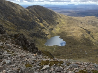 The southern ridge of Ben More Assynt and leaf-shaped Dubh Loch in its corrie