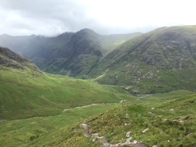 Looking back down to the road; Aonach Eagach beyond
