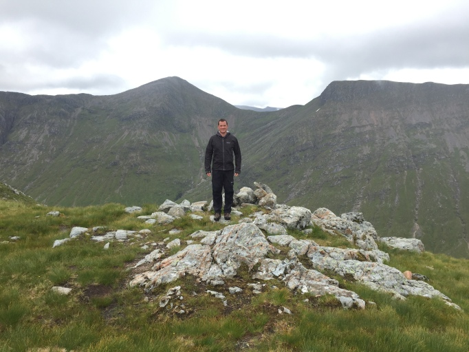 Ally at the bealach; Buichaille Etive Mor behind