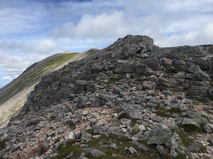Looking up to Ruadh Stac Mor