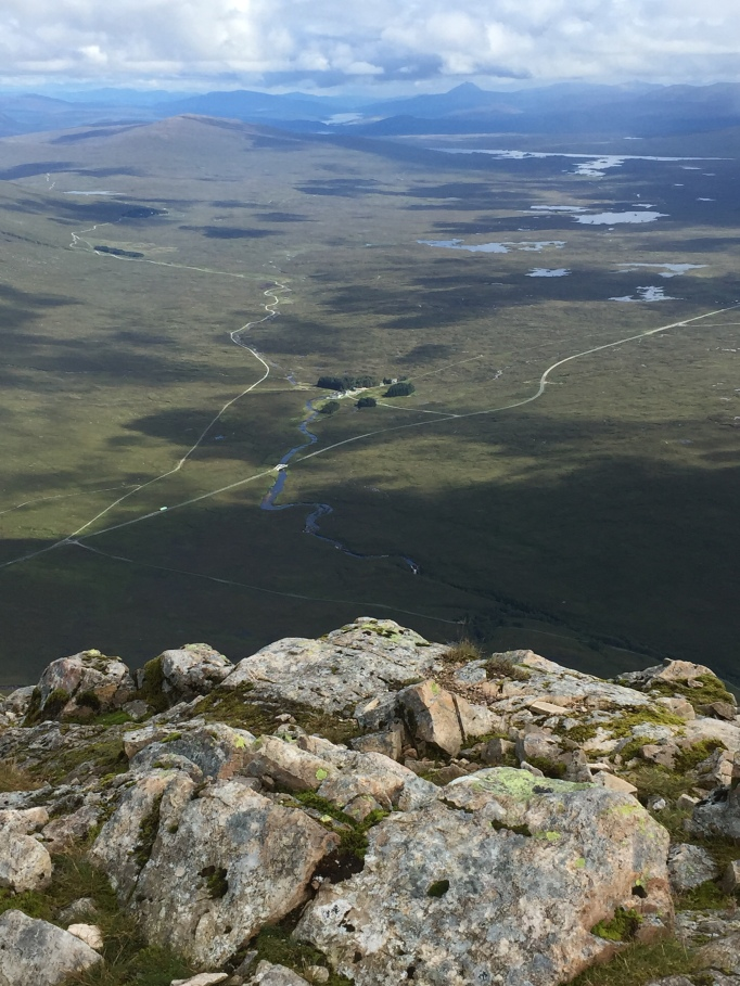 View down to the Kingshouse from the Buachaille