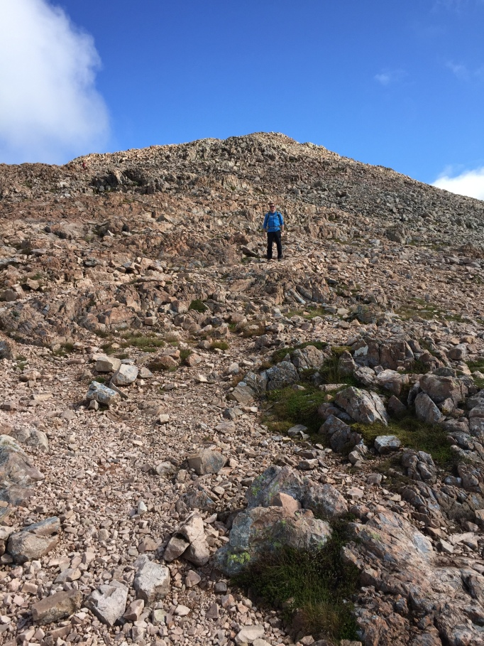 Ally climbing down from Stob Dearg