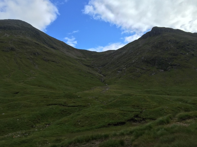 Looking back up to the bealach we descended from