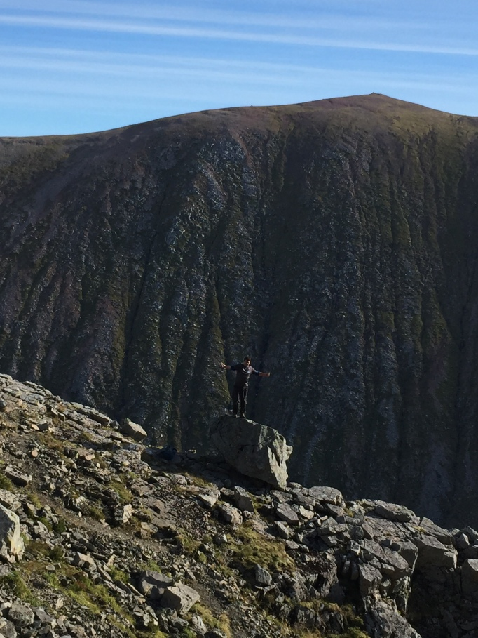Plenty of posing - our descent route behind from Carn Mor Dearg!